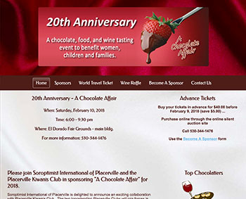 A Chocolate Affair website home page