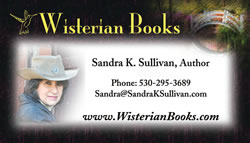 Wisterian Books business card ofr Sandra K. Sullivan