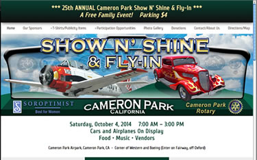 front page of Cameron Park Show N' Shine Fly-In web site