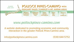 front of promotional business card for PollockPines-Camino.com
