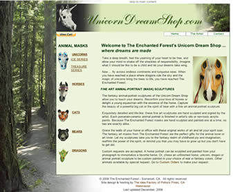 UnicornDreamShop.com website home page